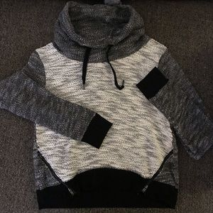 Athleisure crop fit cowl sweater